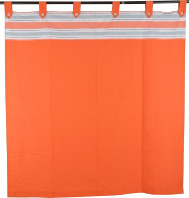 Elite Home Cotton Orange Solid Window Curtain Motif Tab Top Window Curtain