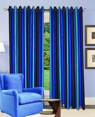 Rayon Casa Polyester Blue Plain Eyelet Door Curtain