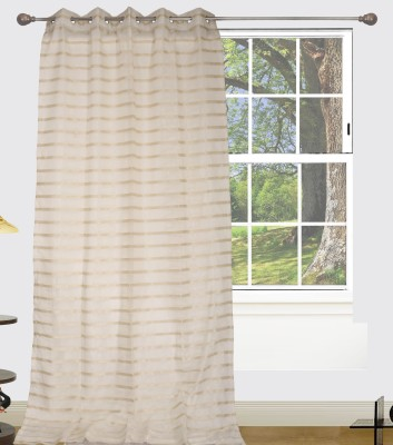 Edit One Polyester White Striped Rod pocket Window & Door Curtain