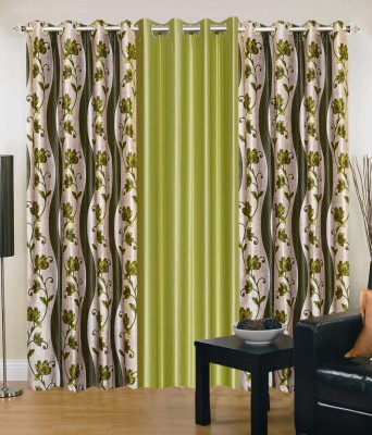 Shopgrab Polyester Beige, Green Printed Eyelet Door Curtain