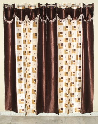 GLOW Polyester Brown Abstract Eyelet Door Curtain