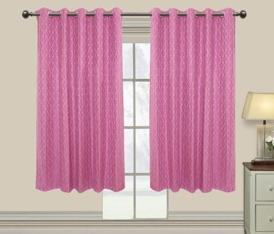 Elan Cotton Pink Motif Eyelet Window Curtain