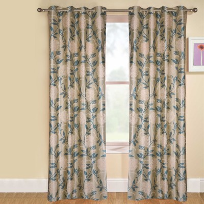 kaka furnishings Polyester Blue Floral Eyelet Long Door Curtain