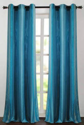 Deco Essential Polyester New Turquoise Plain Eyelet Door Curtain