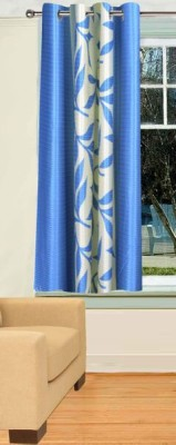 Trendy Home Polyester Blue Printed Eyelet Window Curtain