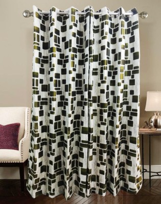 K Gallery Polyester Green Geometric Eyelet Door Curtain