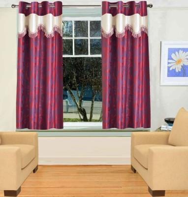 TT Maroon Motif Eyelet Window Curtain