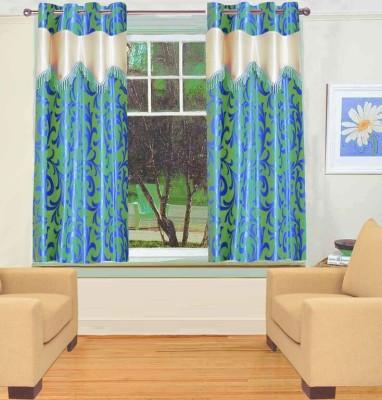 TT Polyester Green Floral Eyelet Window Curtain