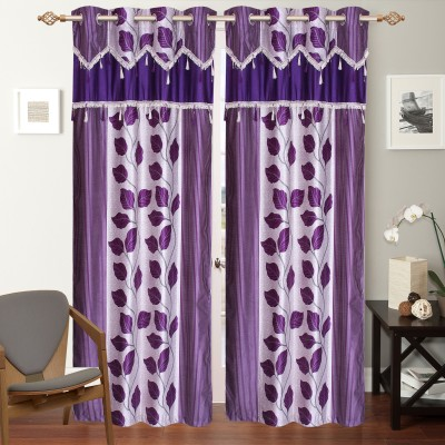 DOLLYH Polyester multicolour Printed Ring Rod Window Curtain