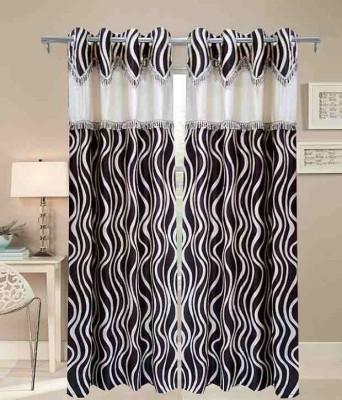 Jai Ganga Polyester coffee Floral Curtain Long Door Curtain