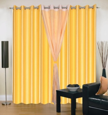 Brand Decor Polyester Yellow Solid Eyelet Long Door Curtain