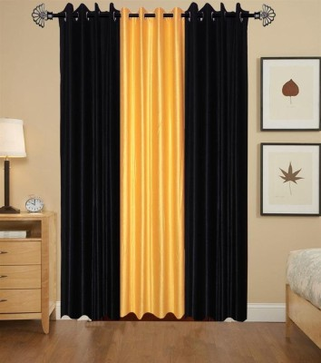 shivamconcepts Polyester Black, golden, Black Plain Curtain Door Curtain