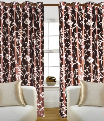 Madavs Polyester Brown Floral Eyelet Door Curtain