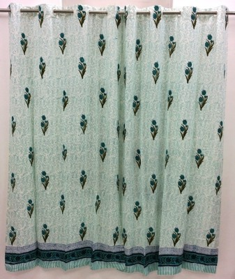 Ethnic Rajasthan Cotton White-Blue Floral Ring Rod Window Curtain