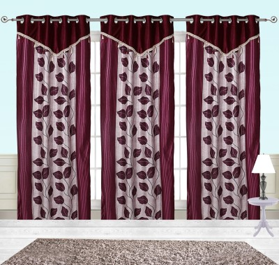 Comfort Zone Polyester Maroon Betal Leaf Abstract Eyelet Door Curtain