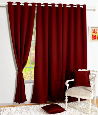 Story @ Home Silk Maroon Solid Tab Top Door Curtain