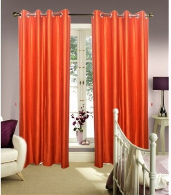 Creativehomes Polyester Orange Plain Eyelet Window Curtain