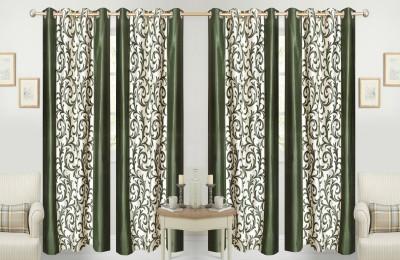 Shiv Shankar Handloom Polyester Green Printed Eyelet Long Door Curtain