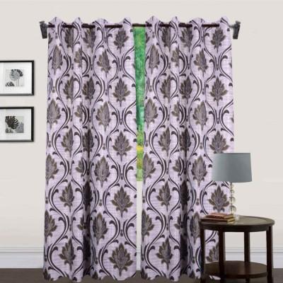 JTInternational Polyester Grey Solid Eyelet Door Curtain