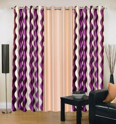 Excel Bazaar Polyester Purple, Beige Abstract Eyelet Door Curtain