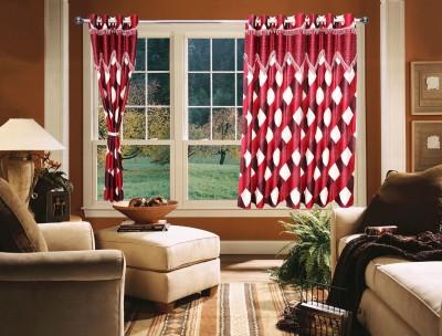 OsianArts Red Self Design Eyelet Window Curtain