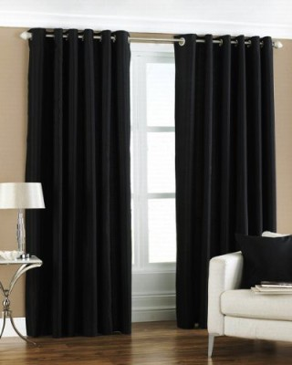 The Decor Store Polyester Black Plain Eyelet Door Curtain