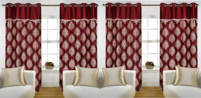 Rangoli Home Polyester Mahroon Printed Eyelet Door Curtain