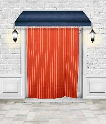 Lukluck Cotton Orange Abstract Ring Rod Door Curtain