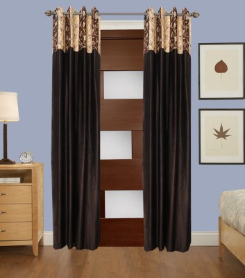 La elite Polyester Brown Abstract Eyelet Door Curtain