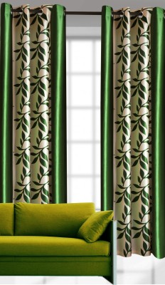 India Furnish Polyester Green Printed Eyelet Door Curtain