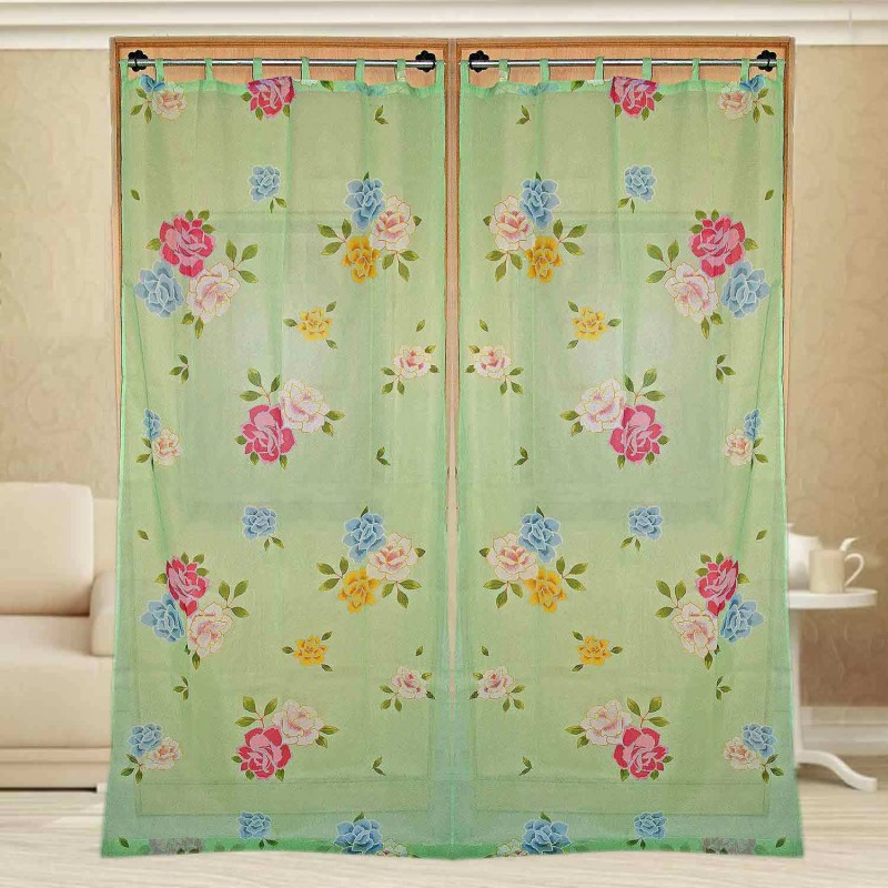 Sriam Cotton Multicolor Printed Curtain Window Curtain(240 cm in Height, Pack of 2)