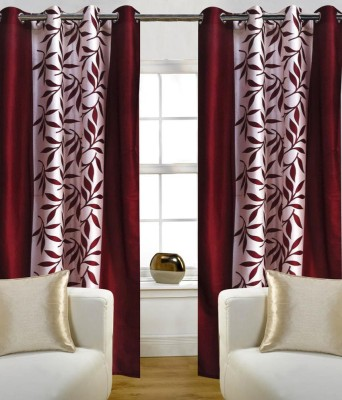 Elegence Polyester Red Floral Eyelet Window Curtain