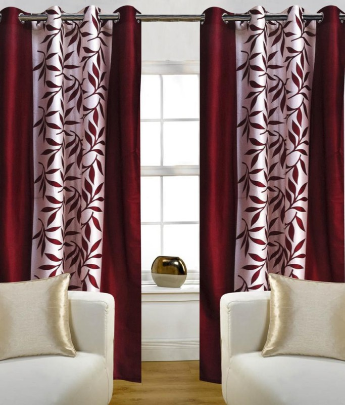 Pag Polyester Maroon Kolaveri Floral Eyelet Window & Door Curtain(210 cm in Height, Pack of 2)
