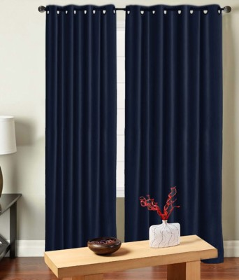 Saral Home Polyester Blue Solid Eyelet Door Curtain
