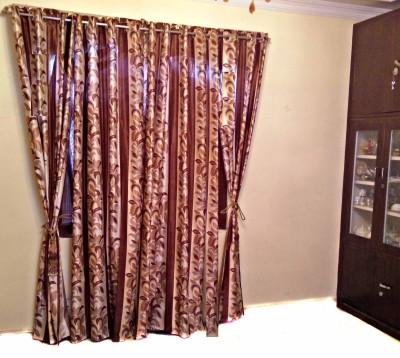 SHC Polyester Brown Floral Eyelet Door Curtain