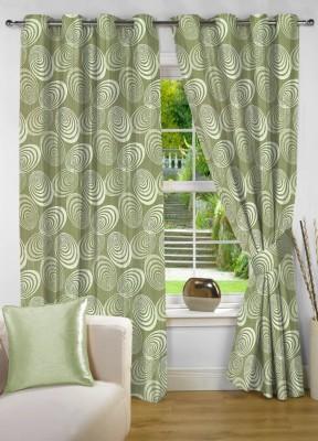 NuHome Decor Polyester Green Abstract Eyelet Long Door Curtain