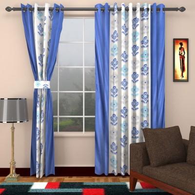 HomeTex Polycotton Blue Printed Eyelet Long Door Curtain