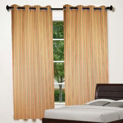 TG Shoppers Cotton Green, Dark Yellow Striped Curtain Window Curtain