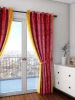 Swayam Silk Orange, Red Solid Eyelet Door Curtain(228.6 cm in Height, Single Curtain)