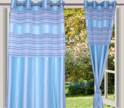 Desire Polyester Light Blue Solid Eyelet Window Curtain