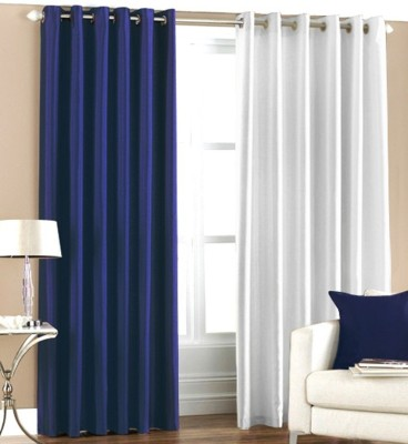RK Home Furnishing Polyester Blue, White Solid Eyelet Door Curtain