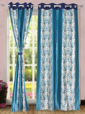 Wind Drape Polyester Aque Blue Floral Ring Rod Door Curtain
