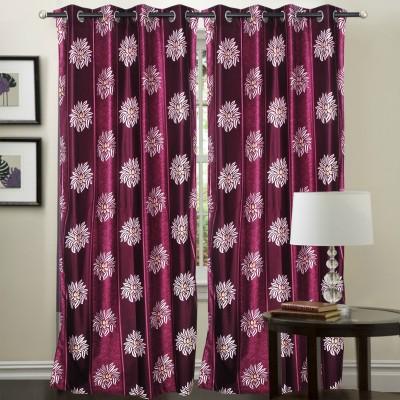 Hargunz Polyester Lavender Solid Eyelet Long Door Curtain