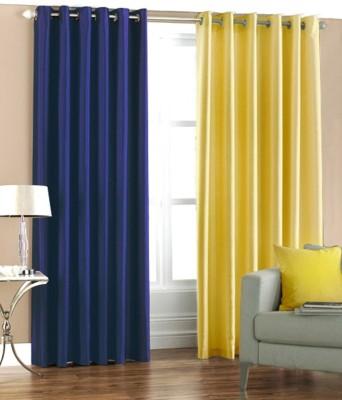 Panipat Textile Hub Polyester Blue, Yellow Plain Eyelet Door Curtain