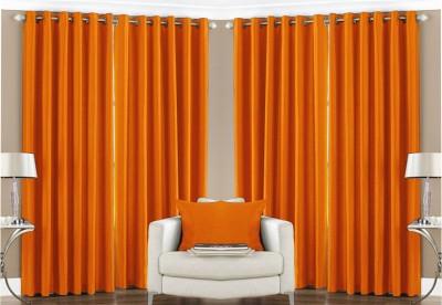 Pendu Art Polyester Orange Plain Eyelet Long Door Curtain