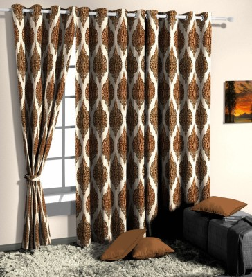 Curtainman Polyester Brown Motif Eyelet Door Curtain
