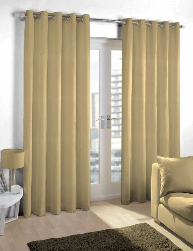 Skipper Polyester Beige Solid Eyelet Long Door Curtain(244 cm in Height, Pack of 2)