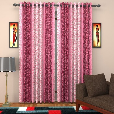 SurprizeMe Polyester Pink Printed Eyelet Door Curtain