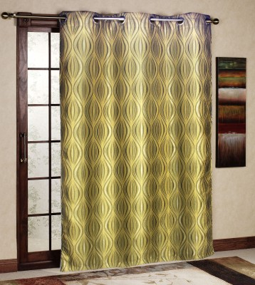 R home Polyester Gold Floral Eyelet Door Curtain