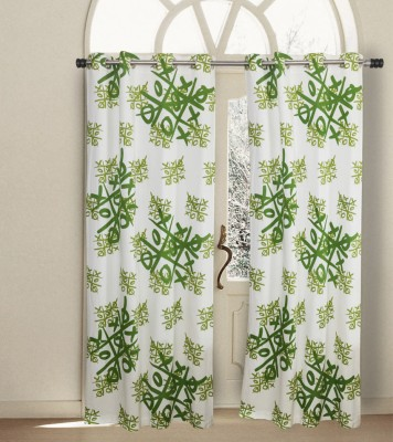 House This Cotton Green Abstract Eyelet Window Curtain